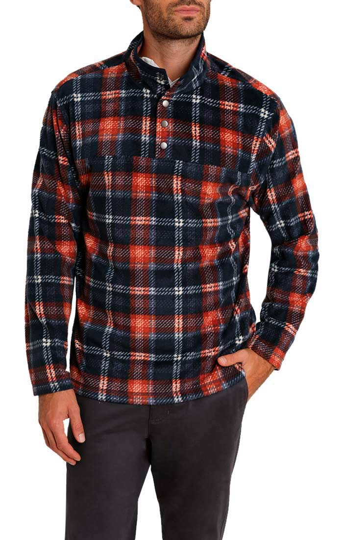 Navy Plaid Fleece Mock Neck Pullover