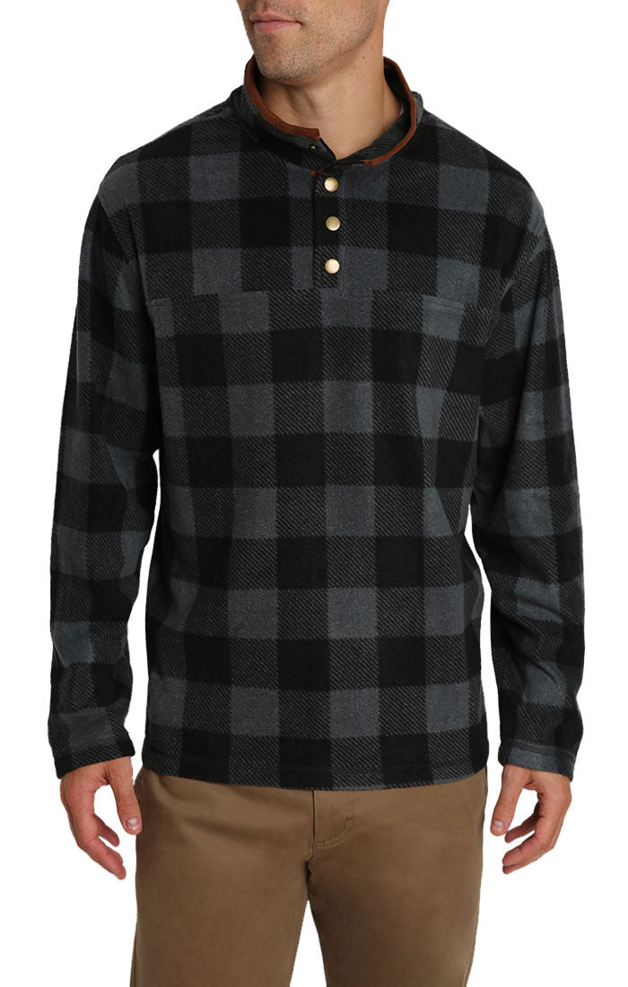 Charcoal Plaid Fleece Mock Neck Pullover