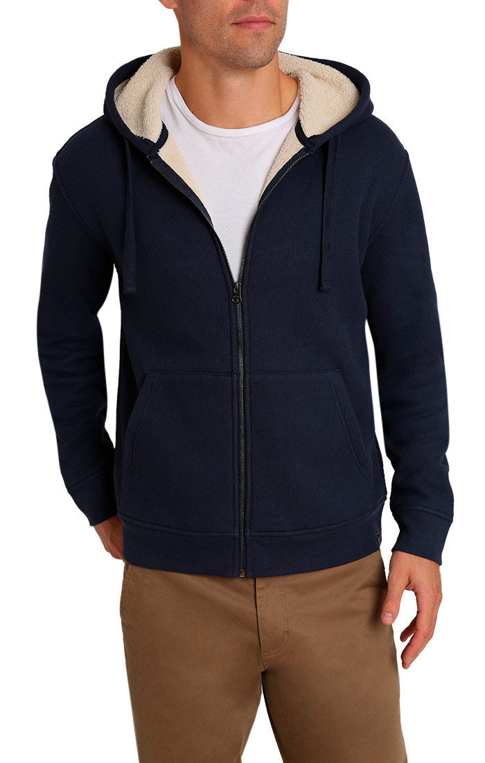 Navy Waffle Sherpa Lined Hoodie