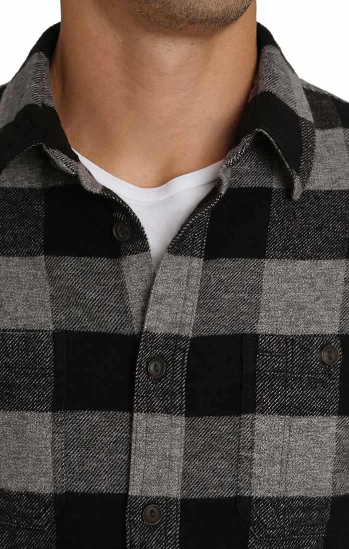 Charcoal Buffalo Plaid Brushed Flannel Workshirt - jachs