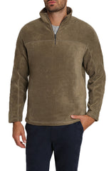 Olive Quarter-Zip Sherpa Fleece Pullover