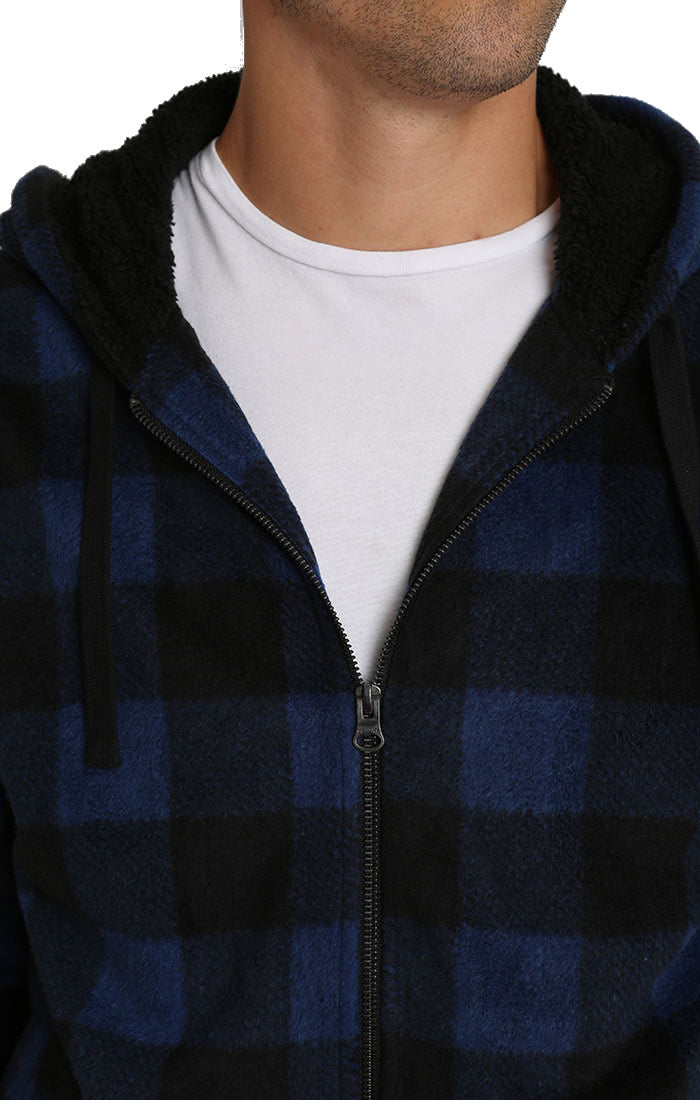 Navy Buffalo Plaid Sherpa Lined Fleece Hoodie - jachs