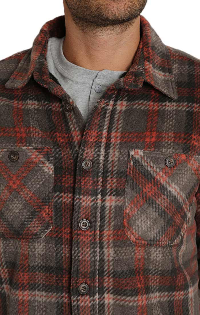 Grey Plaid Sherpa Fleece Shirt Jacket