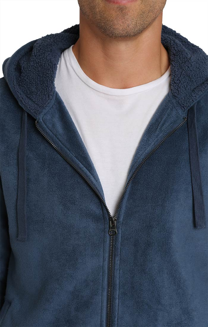 Blue Sherpa Lined Polar Fleece Hoodie - JACHS NY