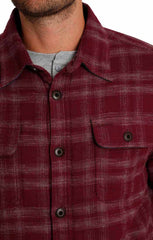 Burgundy Sherpa Lined Flannel Shirt Jacket