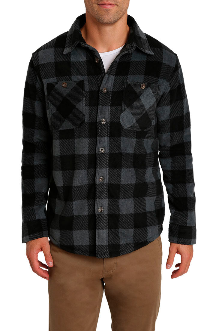 Charcoal Buffalo Sherpa Fleece Shirt Jacket - jachs
