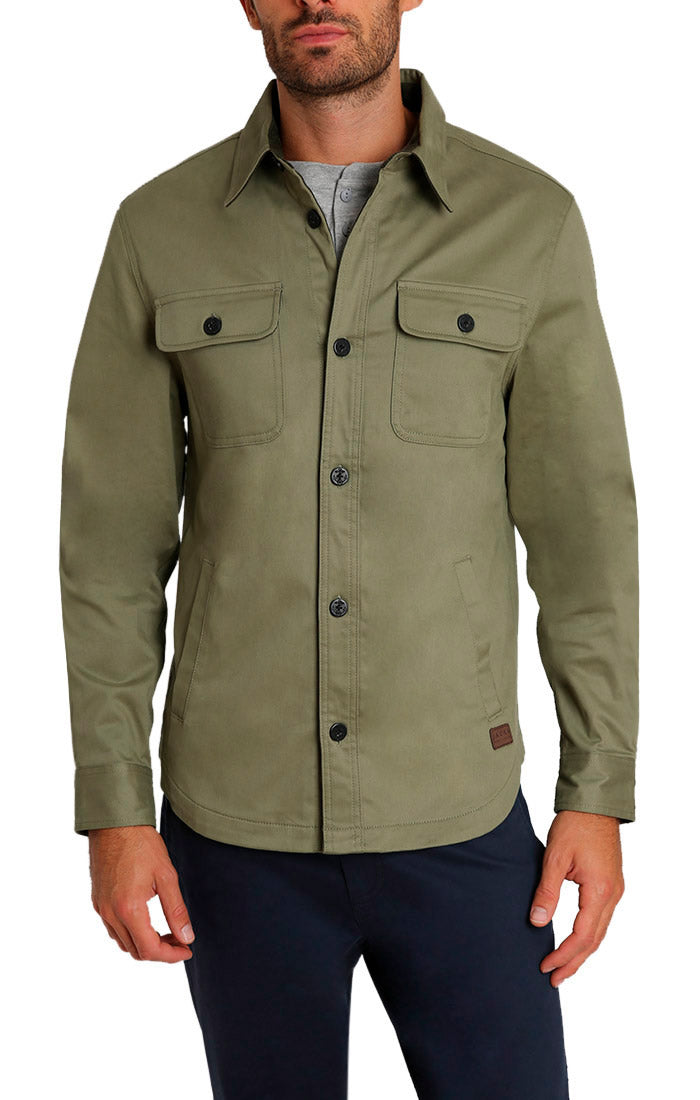 Olive Stretch Flannel Lined Shirt Jacket - JACHS NY
