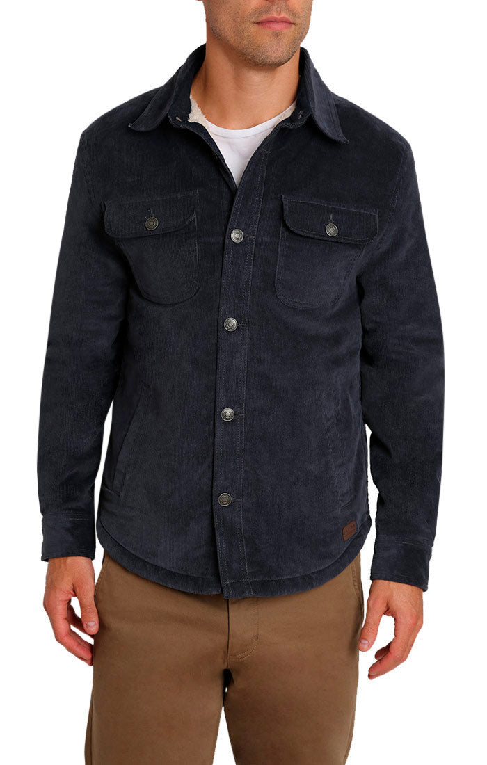 Charcoal Stretch Corduroy Sherpa Lined Jacket - jachs
