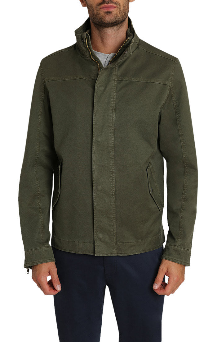 Green Stretch Canvas Lined Field Jacket