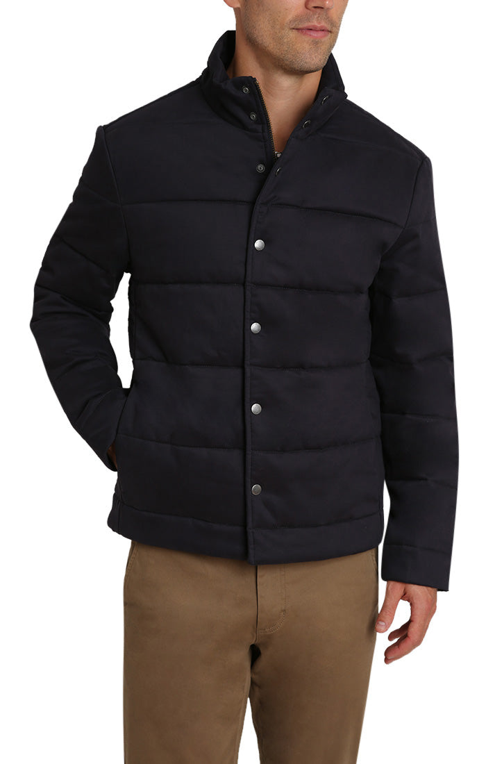 Navy Stretch Sateen Quilted Puffer Jacket - jachs