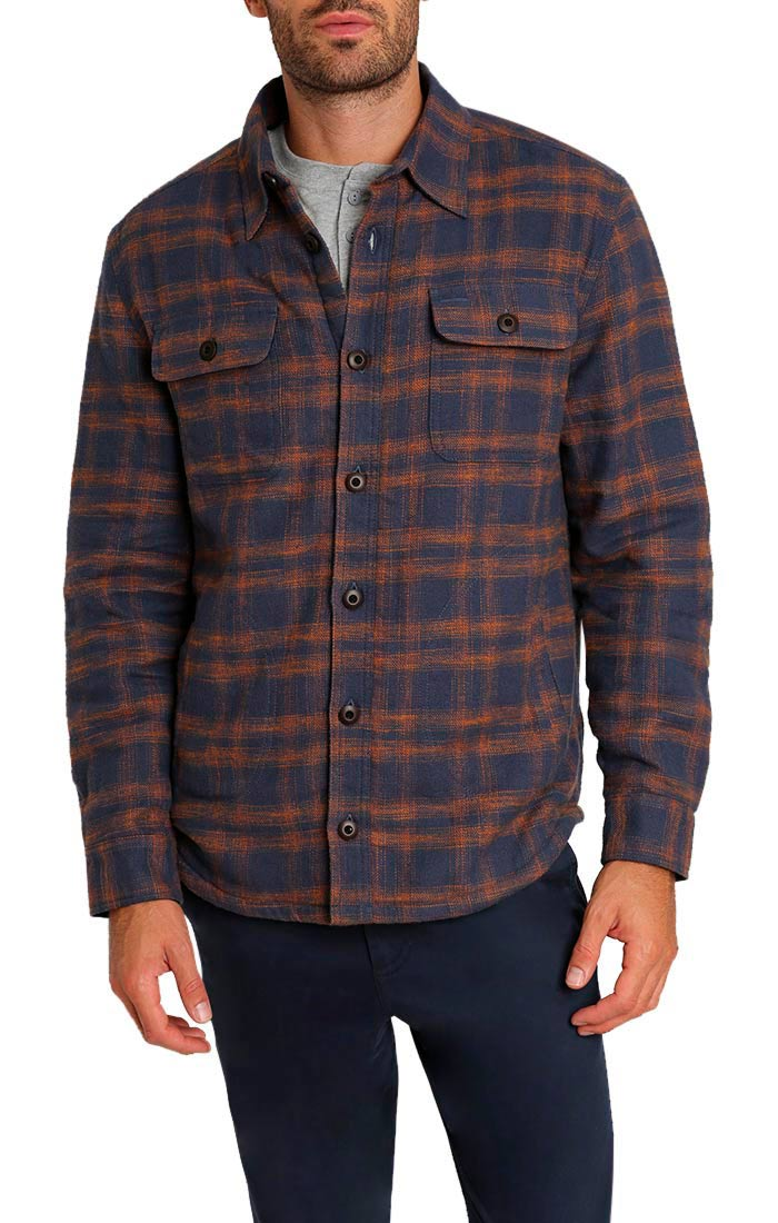 Navy Sherpa Lined Flannel Shirt Jacket