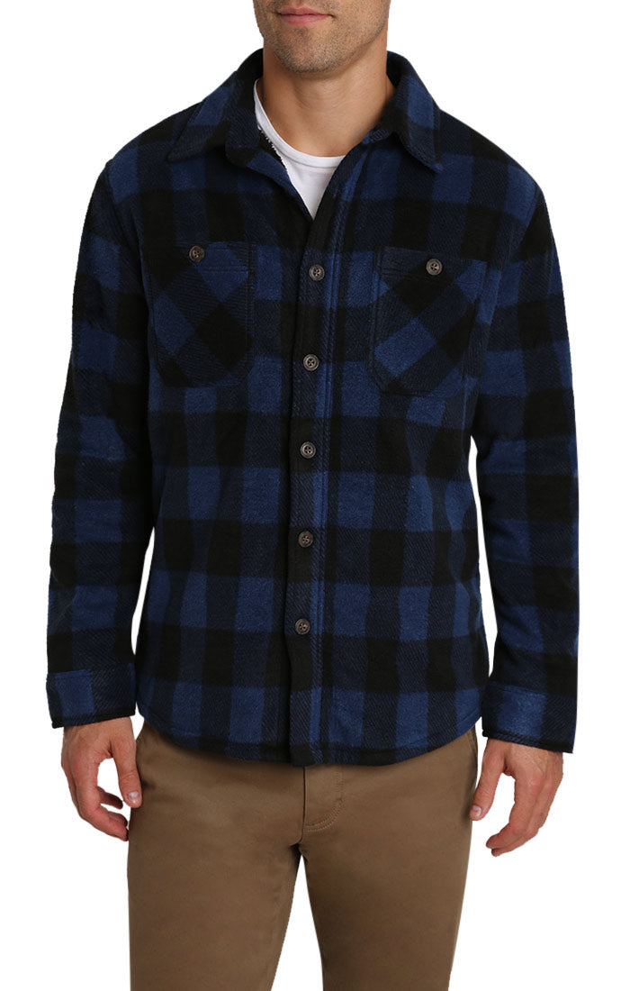 Navy Buffalo Sherpa Fleece Shirt Jacket