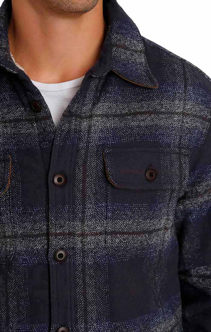Indigo Sherpa Lined Flannel Shirt Jacket - jachs