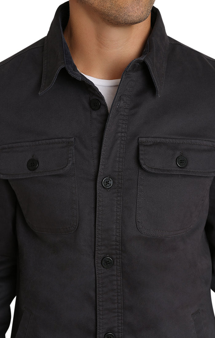 Charcoal Stretch Flannel Lined Shirt Jacket - jachs