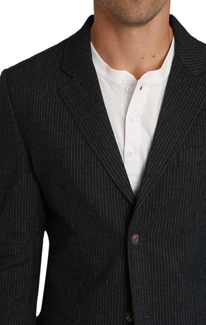 Striped Stretch Cotton Flannel Blazer - jachs