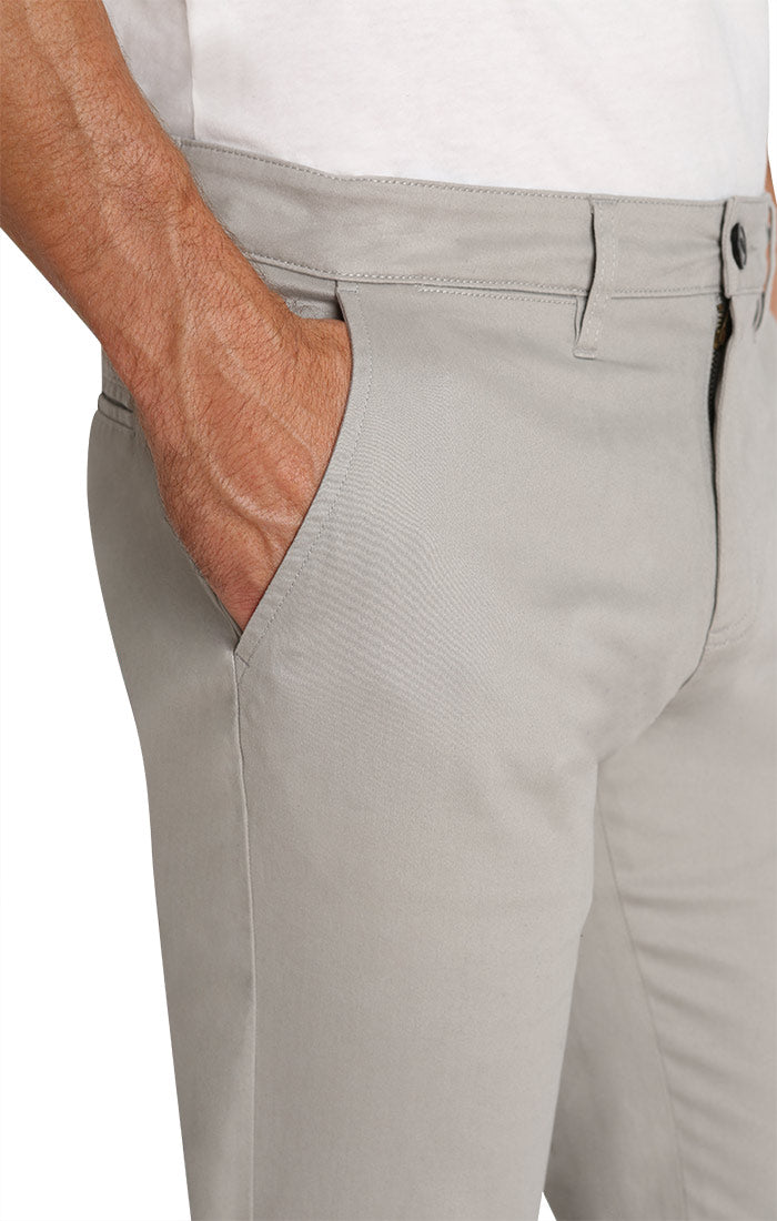 Light Grey Straight Fit Stretch Bowie Chino - jachs