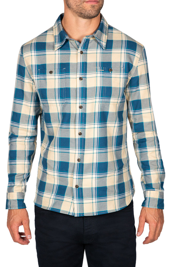 Blue Plaid Bravo Twill Flannel Shirt