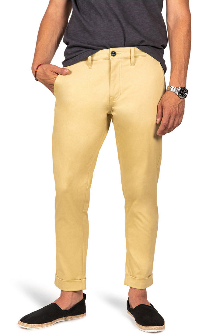 Wheat Bowie Stretch Cropped Chino Pant - jachs