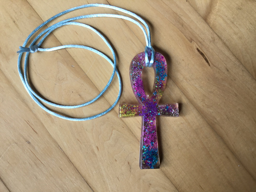 Flower Splash Ankh light blue
