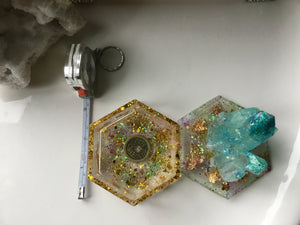 Teal/Gold Crystal Box