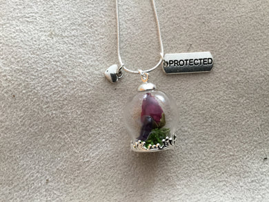 Crystal & Rosebud, silver chain necklace