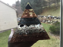 Load image into Gallery viewer, Large Gold Shungite Tip Pyramid