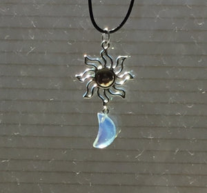 Opalite sun/moon necklace
