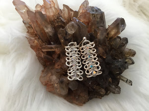 Silver chain mail earrings