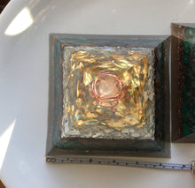Load image into Gallery viewer, Large Gold Malachite Pyramid