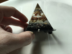 Small Tourmaline Gold Quartz Copper Aluminum Orgonite Pyramid