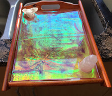 Load image into Gallery viewer, Beautiful holographic charging tray with Selenite & clear quartz