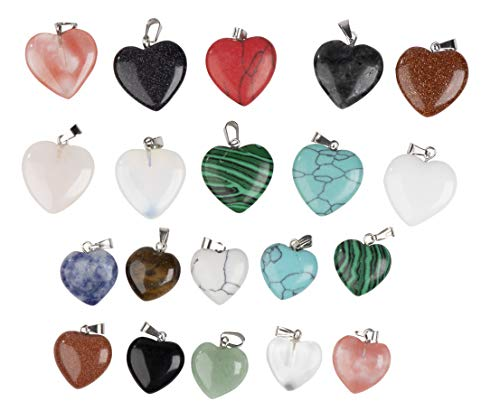 Gemstone Pendant - 20-Pack Heart Shaped Chakra Gemstone Pendant, Crystal Stone Pendants, Gemstone Charm, for Accessories Bracelets Necklace Jewelry Making, Craft, Assorted Colors, 0.78 and 0.62 Inches