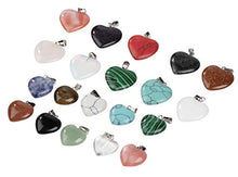 Load image into Gallery viewer, Gemstone Pendant - 20-Pack Heart Shaped Chakra Gemstone Pendant, Crystal Stone Pendants, Gemstone Charm, for Accessories Bracelets Necklace Jewelry Making, Craft, Assorted Colors, 0.78 and 0.62 Inches