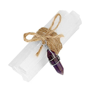 Top Plaza Natural Selenite Wand Sticks Reiki Healing Crystals Set with Chakra Gemstone Charms,Hemp Rope,Gift Box(Amethyst Hexagonal Point)