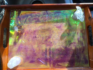 Beautiful holographic charging tray with Selenite & clear quartz