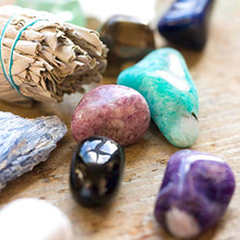 Load image into Gallery viewer, Premium Quality Crystals for Relaxation, Stress Relief, Anxiety, Sleep / 11 pc Calm Crystal Healing Set - Amethyst, Lepidolite, Fluorite, Smoky Quartz, Howlite, Sage & More + Info Guide/Gift Ready