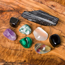 Load image into Gallery viewer, Crystals for Protection/EMF -8 pc Pocket-Sized Crystal Healing Set - Obsidian, Fluorite, Malachite, Hematite, Amethyst, Tree Agate, Clear Quartz + Black Tourmaline Specimen + Informational Guide