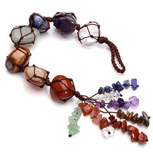 Load image into Gallery viewer, Jovivi Chakra Stones Set, 7 Chakras Healing Crystals Wall Hanger Tumbled Gemstones Tassel Spiritual Meditation Hanging Ornament/Window Ornament/Feng Shui