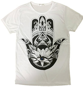 Women's Lotus Eye Print Summer Short Sleeve Cotton T Shirt Tops (M)