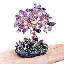 Load image into Gallery viewer, mookaitedecor Amethyst Crystal Tree, Quartz Cluster Rainbow Titanium Crystals Base Bonsai Money Tree for Wealth and Luck
