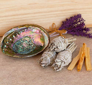 Home Cleansing and Blessing Kit - Smudging Chakra Balancing, White Sage, Palo Santo Sticks, Abalone Shell, Candle, Healing Incense, Good Luck, Purifying, Protection, Spiritual Cleansing, Meditation