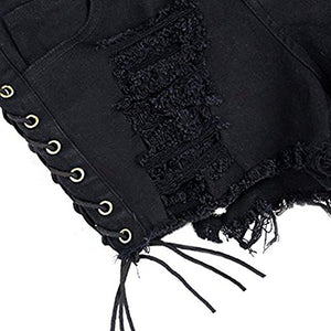 Women's Destroyed Ripped Hole Denim Shorts Sexy Short Jeans Side Straps Mini Hot Pants Clubwear (Black, S)