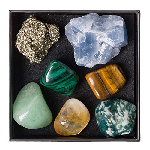 Premium Quality Crystal Set for Abundance & Prosperity - Malachite, Pyrite, Aventurine, Blue Calcite, Tree Agate, Tiger's Eye + Informational Guide & Gift Box