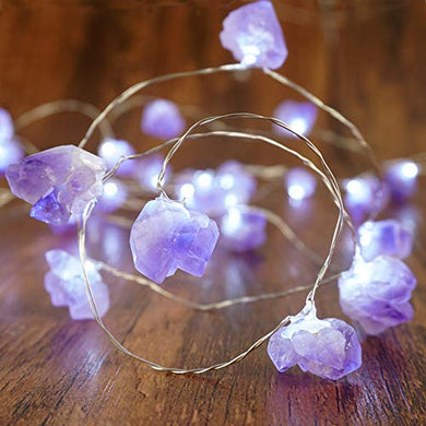 Decorative Lights Amethyst LED String Lights Battery Operated with Remote 10 ft 40 LEDs Natural Crystal String Lights for Bedroom Party Indoor Birthday Wedding Decor