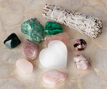 Load image into Gallery viewer, Premium Quality Crystals for Love and Relationships / 11 pc Crystal Healing Set - Rose Quartz, Pink Aventurine, Malachite, Pink Agate, Fuchsite, Pink Opal, Rhodonite & More + Info Guide/Gift Ready
