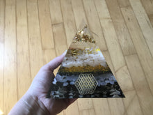 Load image into Gallery viewer, Gold Orgonite Pyramid