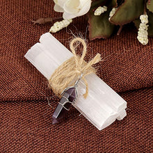 Load image into Gallery viewer, Top Plaza Natural Selenite Wand Sticks Reiki Healing Crystals Set with Chakra Gemstone Charms,Hemp Rope,Gift Box(Amethyst Hexagonal Point)