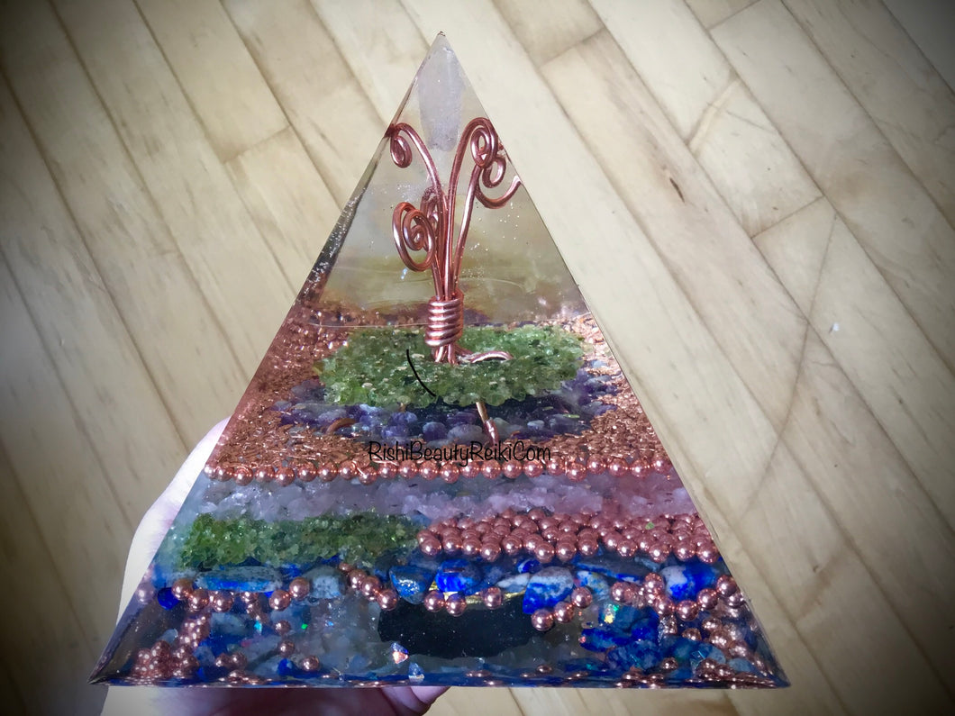 Deluxe Copper Tree Orgonite Pyramid