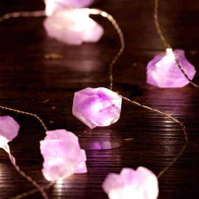 Impress Life Amethyst Lighting Decoration, Medium Size Raw Amethyst String Lights with Remote Control 10ft 30LEDs for Valentine Day, Wedding Party, Beach Theme Christmas Tree Present