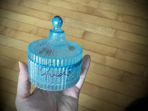 Small Blue Slotted jar